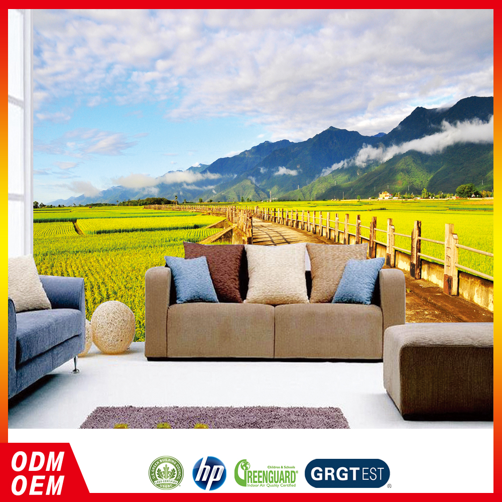 country style scenery paddy field landscape photo mural living wall wallpapers