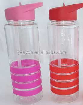 China wholesaler high quality 400ml plastic sport drinking bottle with straw