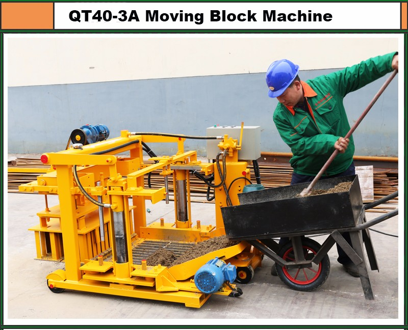 Simple QT40-3A mobile concrete hollow /solid block making machine for small business