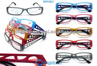 2014 New Style PC frame with AC lens Fashion design Wenzhou Women Full frame Flocking Reading Glasses (BRP3821)
