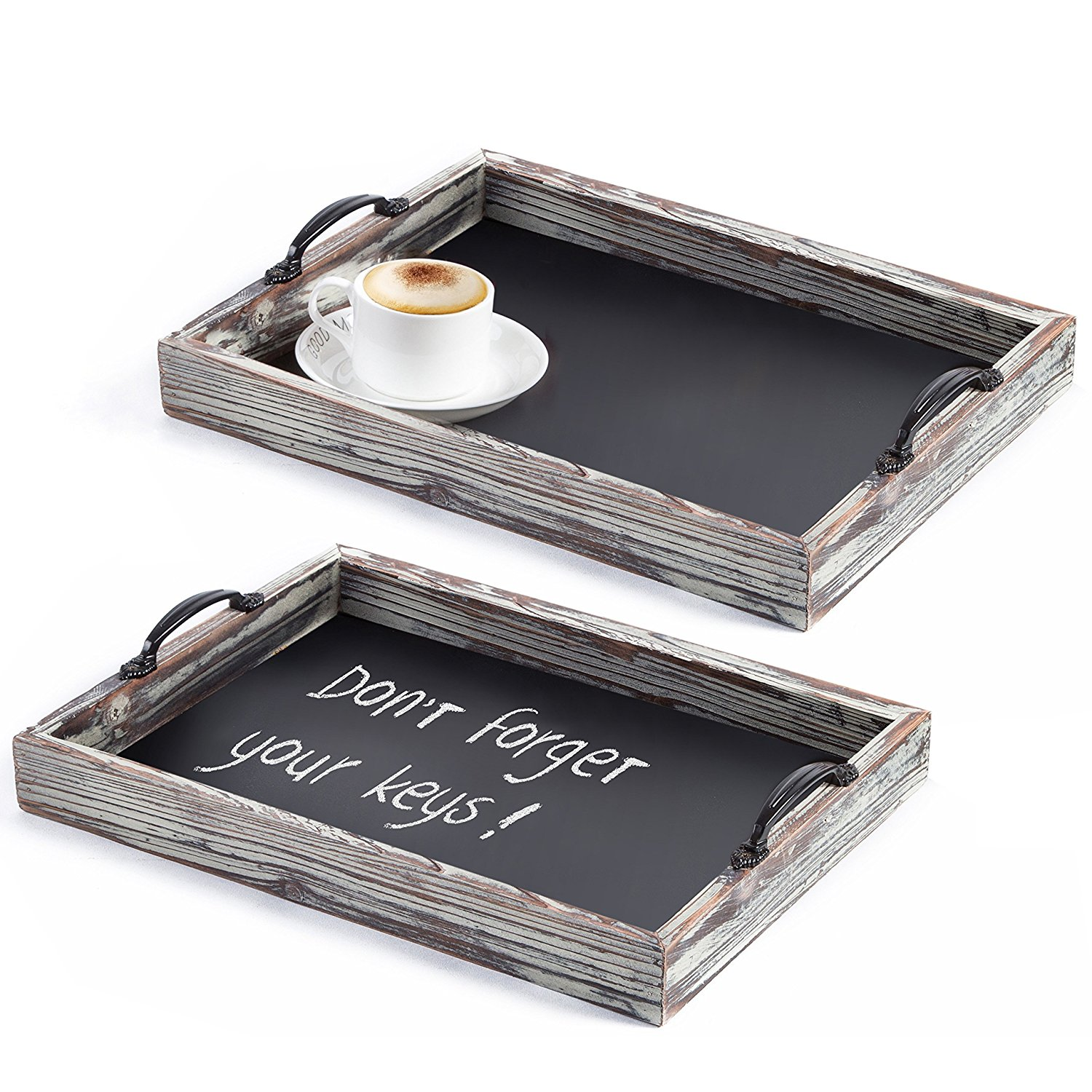 Rustic Style Wood Chalkboard Surface Nesting Breakfast Serving Trays with Decorative Handles, Set of 2