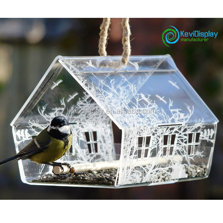 Decorative Hanging Acrylic Bird Nest With Food Bowl And Wooden Bar