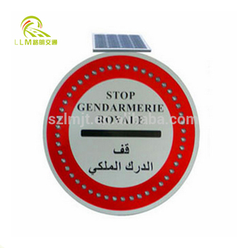 600mm in size aluminum alloy solar powered LED flashing light traffic sign board