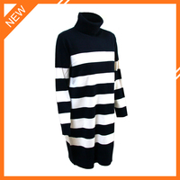 2015 lastest fashion design turtleneck sweater long sleeve white stripe woman clothes