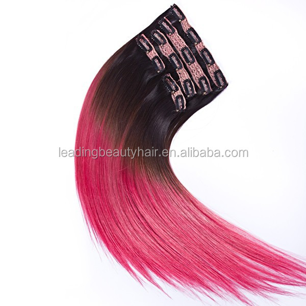 Ombre colored lace full head Russian Brazilian Indian remy human clip in hair extensions
