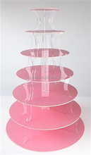 Smooth 7 Tiers Acrylic Pink Wedding Cake Stand Round Acrylic Disposable Cupcake Stand