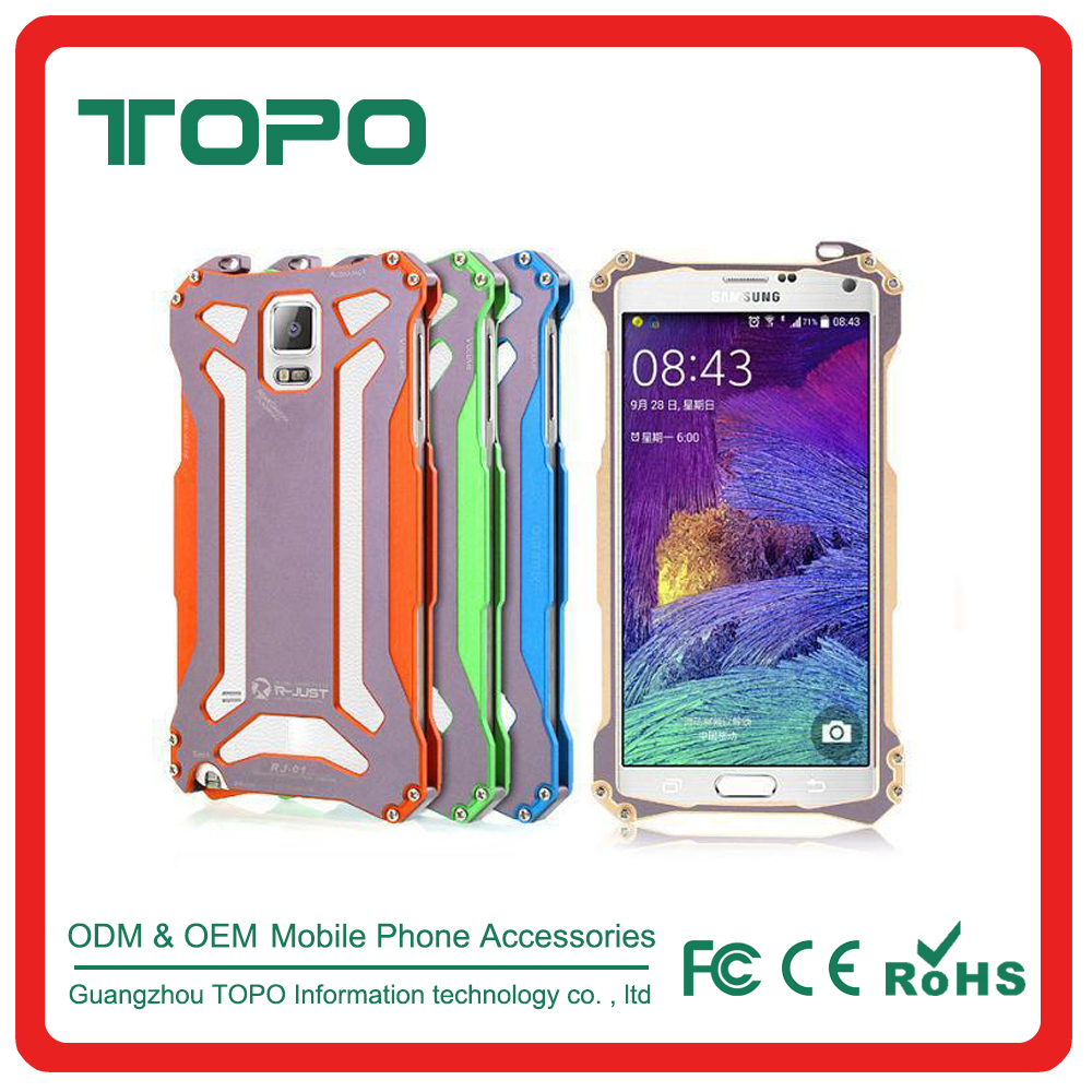 [TOPO]Shockproof Military duty Metal Aluminum Mobile phone Case with glass for Samsung galaxy Note 4