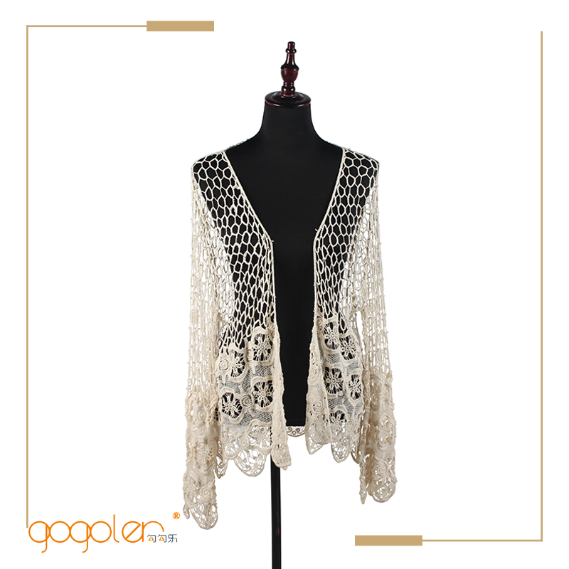 2016 alibaba hot sale long sleeve lace crochet cardigan with high quality
