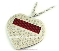 2016 New flash Heart-shape flashing led christmas lights necklace with high quality