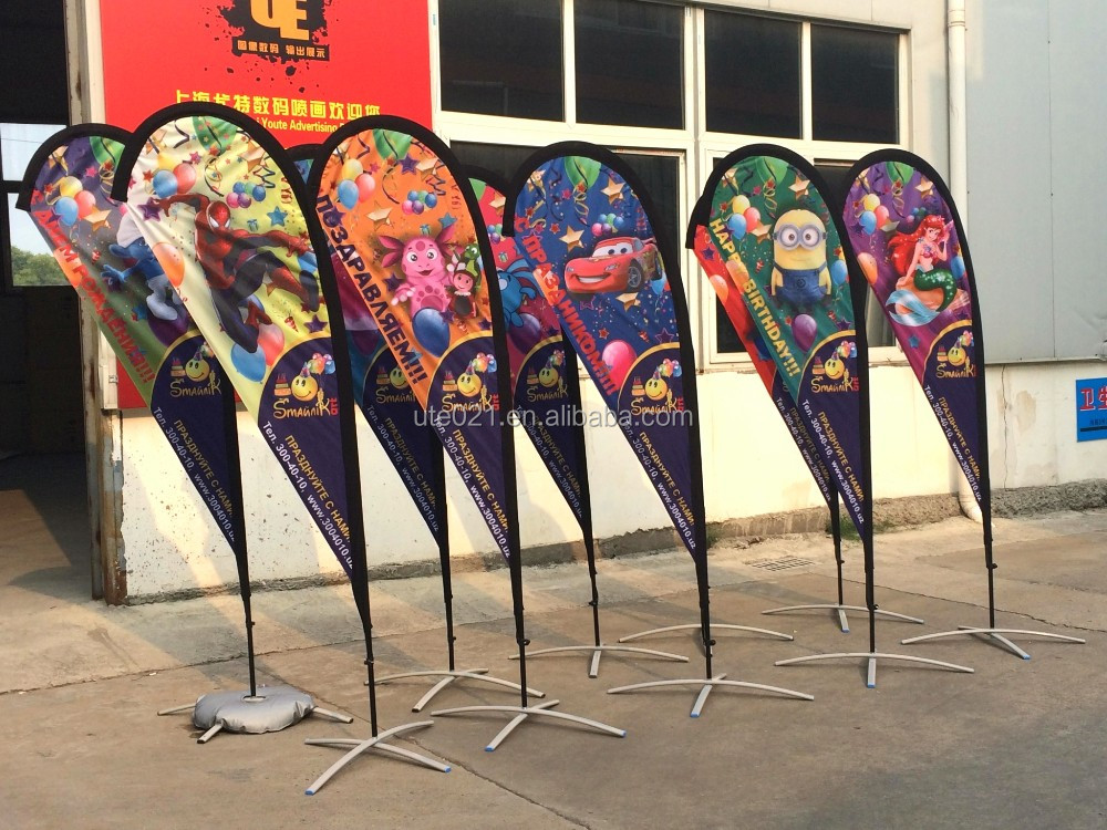 Shanghai wholesale double sided beach flag/drop flag/teardrop flag