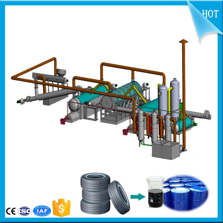 2016 Advanced Continuous waste tire plastic recycling to diesel oil machine plant With CE ISO