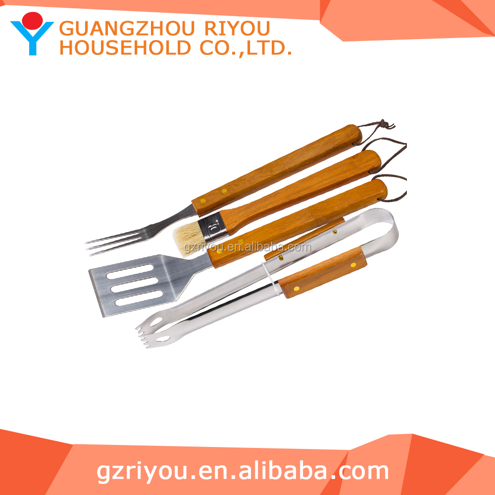Industrial Wholesale In Stock 4pcs Stainless Steel Material BBQ Tool Set with Apron for Blister Card Packaging