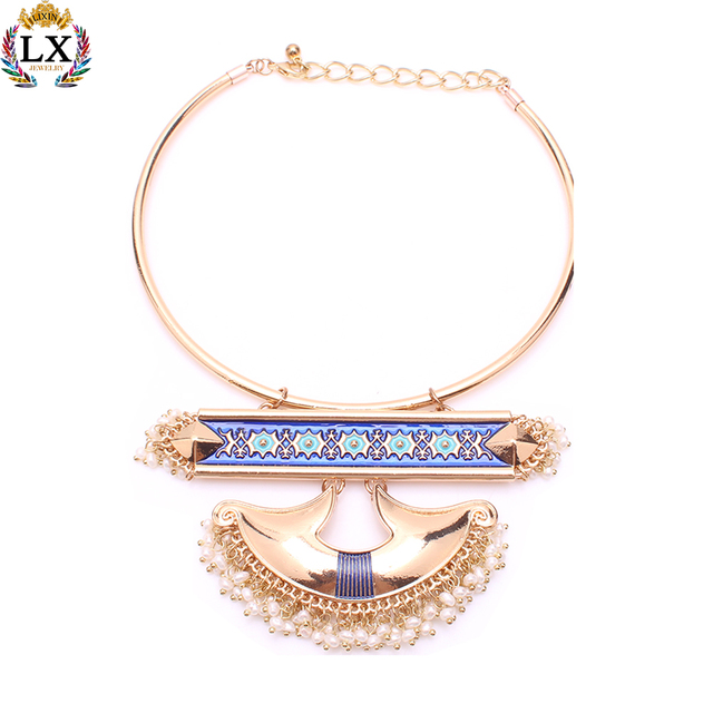 NLX-01074 new statement big choker necklace women handmade fashion custom jewelry 2017wholesale 14k gold plated necklace designs