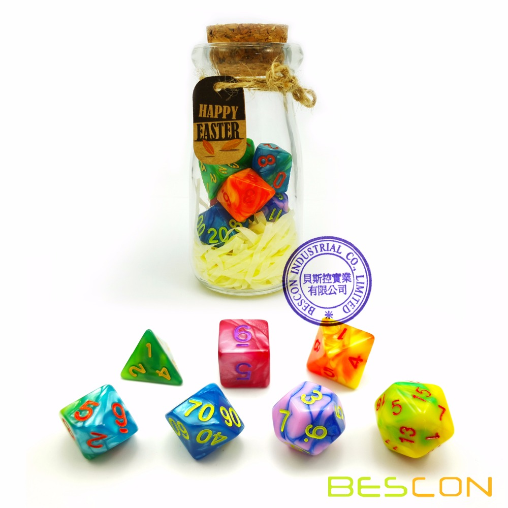 Bescon Easter Dice Polyhedral Dice 7pcs RPG Set in Glass Jar, RPG Dice Set d4 d6 d8 <strong>d10</strong> d12 d20 d% Set of 7 Easter Dice-DnD Dice