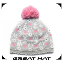 2015 Jacquard custom Lovely crochet beanie hat for baby