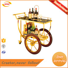 classic style stainless steel wine serving trolley with handrail