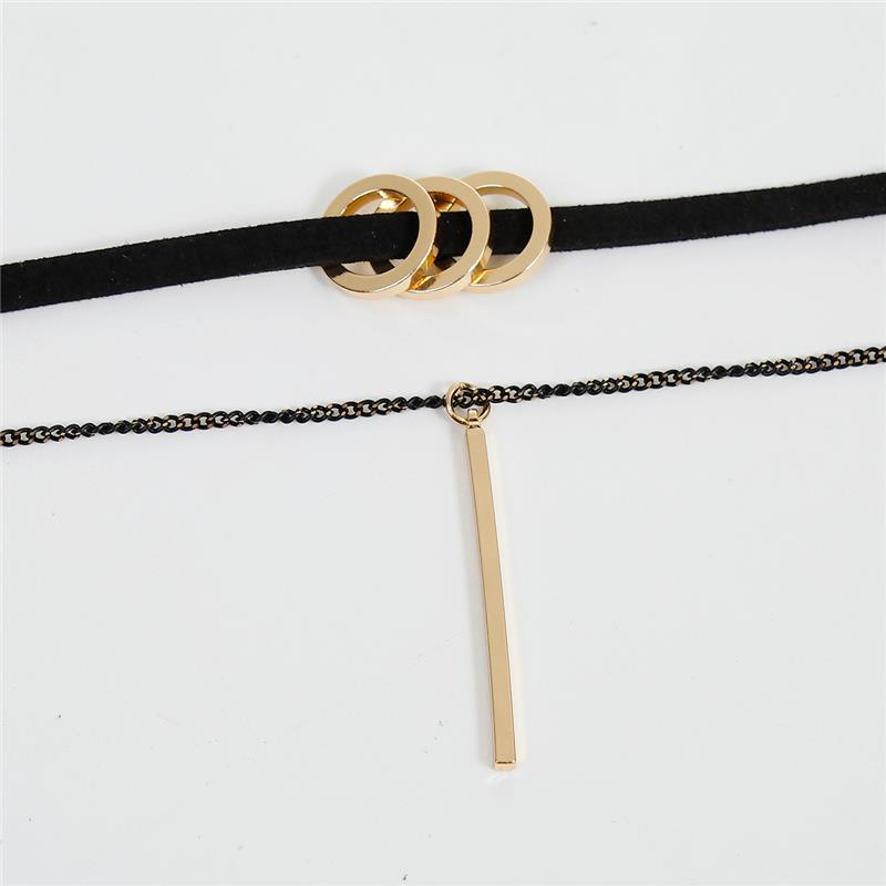 Velvet Faux Suede Choker Necklace Gold Plated Black Round Rectangle Charm Chokers