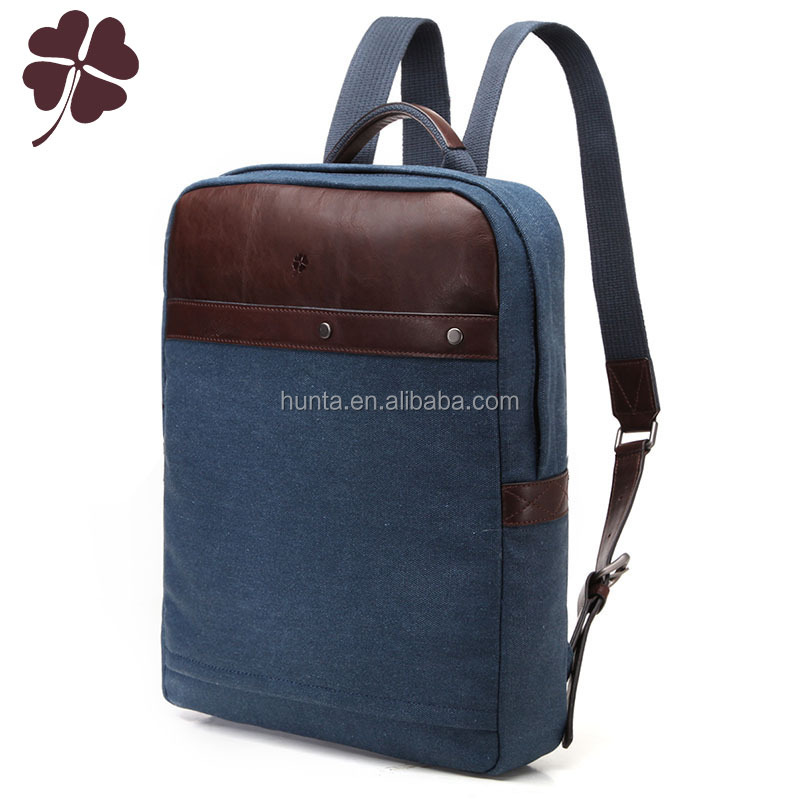 Guangzhou factory leather canvas laptop backpack travel bag for laptops
