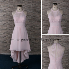 Guangzhou front short and back long nude pink bridesmaid dress