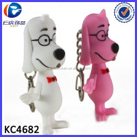 New Fashion Genius Glasses Dog LED Key Chain Promotional gift