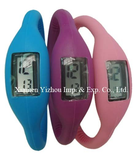 Novel design sports style waterproof silicone bracelet watch