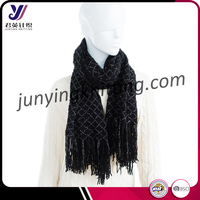 Factory sale black warp with gold string tassel infinity scarf pashmina scarf wholesale china (can be customized)
