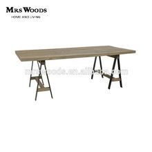 classic reclaimed wood top 4 iron leg with crossed metal leg dining table