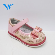 Hot Sale kids single shoes girls PU little princess shoes with bowknot