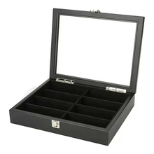 8 Frames Wooden Glasses Box Luxury Packaging Case With Lock For Sunglasses