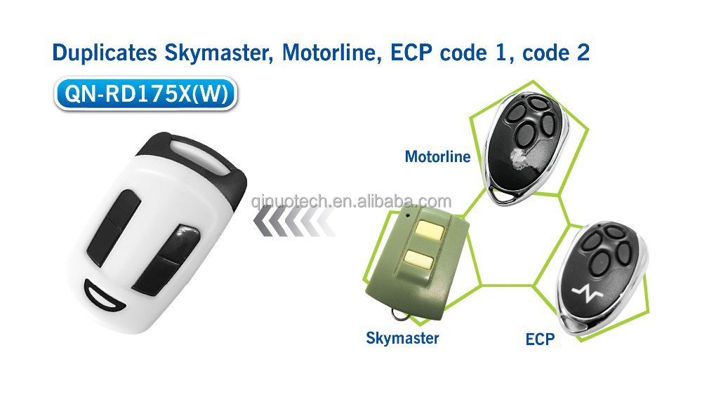 Skymaster,motorline,ECP rolling code remote Compatible with 4 european brands