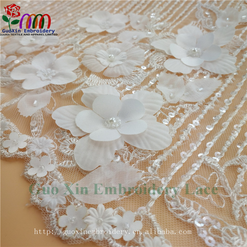 Soft African applique lace material 3d lace fabric beads bridal