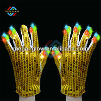 Hot-sale Halloween Gloves,Led Flashing Gloves for Party,Yellow Sequin Gloves