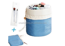 Waterproof Travel Cylinder Blue Kit Organizer Bathroom Storage Cosmetic Bag Carry Case Toiletry Bag