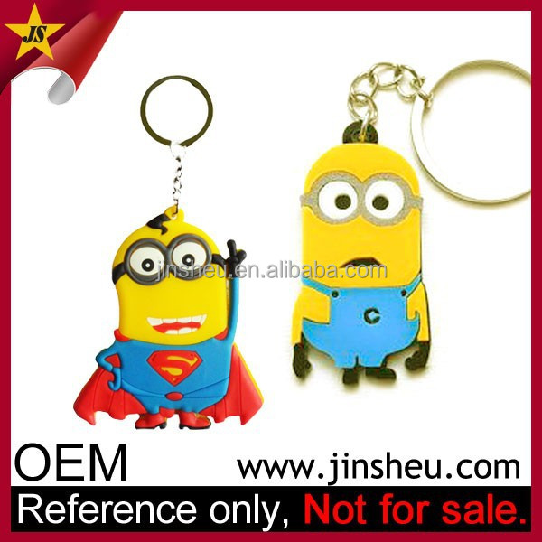 Wholesale Movie Promo 2D Custom Rubber Minion Keyrings