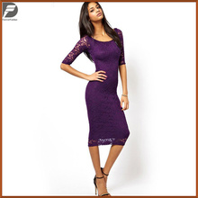 2017 European and United States Hot New Wholesale fashion blue Ladies women lace plain off/flat Shoulder long sleeve dress