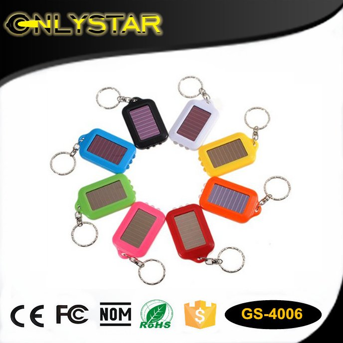 Onlystar GS-4006 portable LED torch keychain power panel with 3 leds solar flashlight