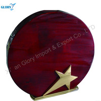 New Metal Star Round Wooden Plaque Blank