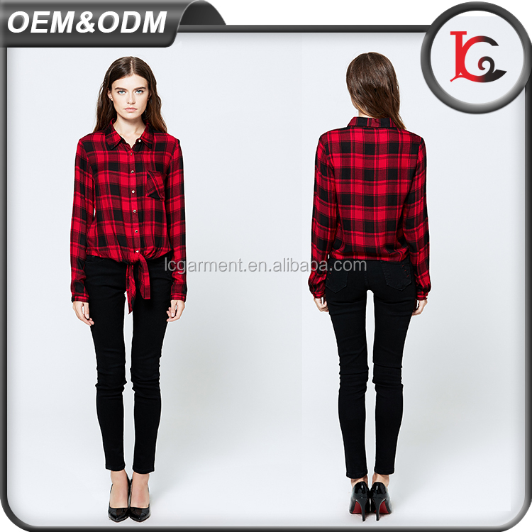 latest style casual design bandage fashion gold button red plaid shirt pictures long sleeve woman blouse