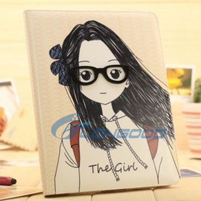 2015 Top Quality Lovely Girl 3D Glasses Wallet Leather Case For iPad