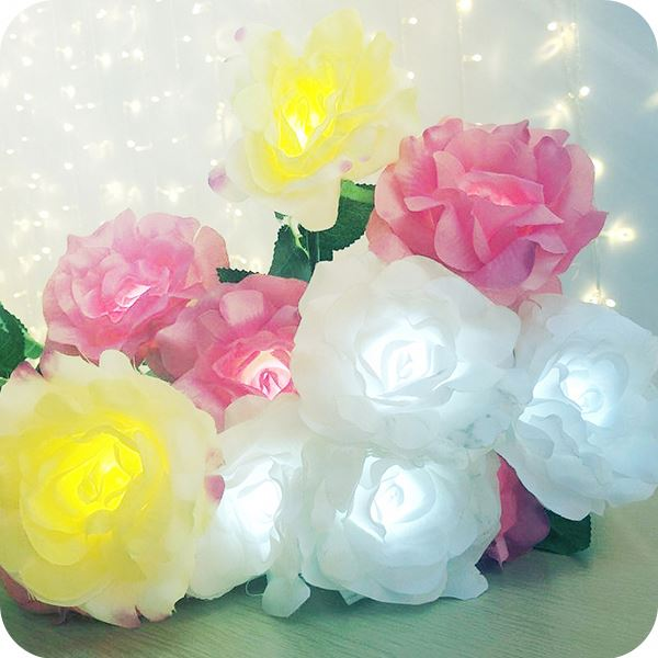 Outdoor Wedding Artificial Flower Bouquet Led Lights
