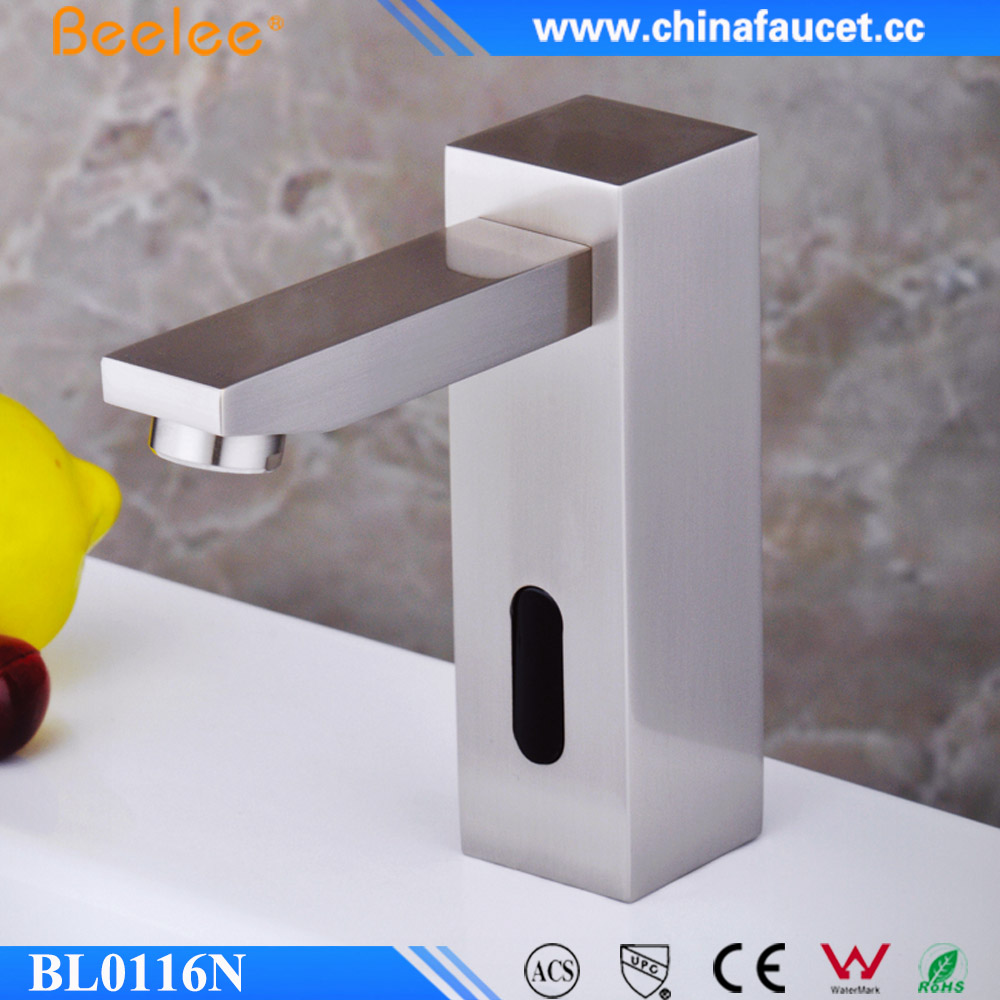 Beelee Brushed Nickel Waterfall Touch Free Automatic Sensor Tap Bathroom Vanity Sink Faucet Mixer