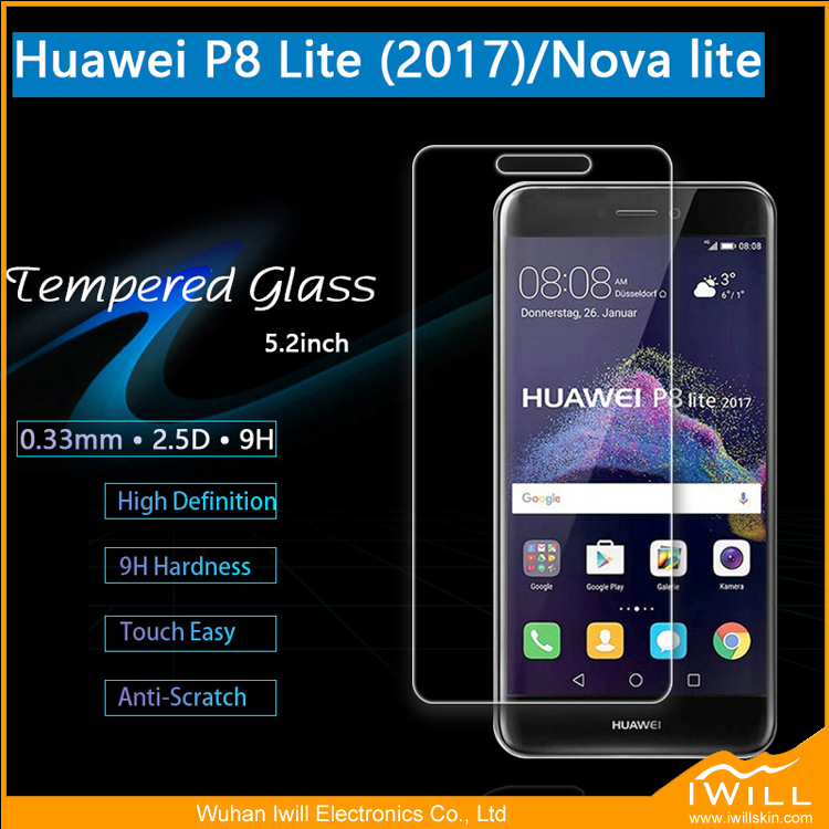 High quality Real Plating Wholesale 2.5D 9h Tempered Glass Screen Protector For Huawei P8 Lite 2017