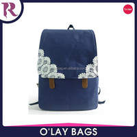 2015 korean style cheap canvas backpack with lace slip cover