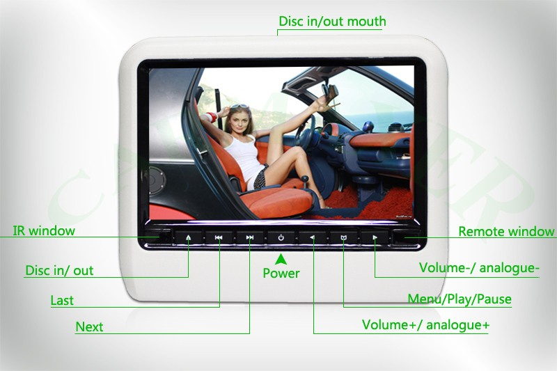 classical style 9inch car headrest dvd player mp3/mp4/SD/USB with touch screen