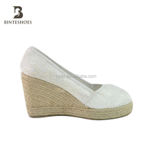 2015 fashion white lace wedge jute espadrille shoe,wedding shoe for woman