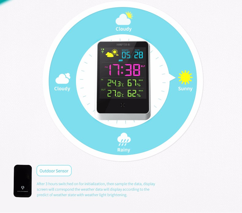 Professional Weather Station clock with Outdoor Sensor