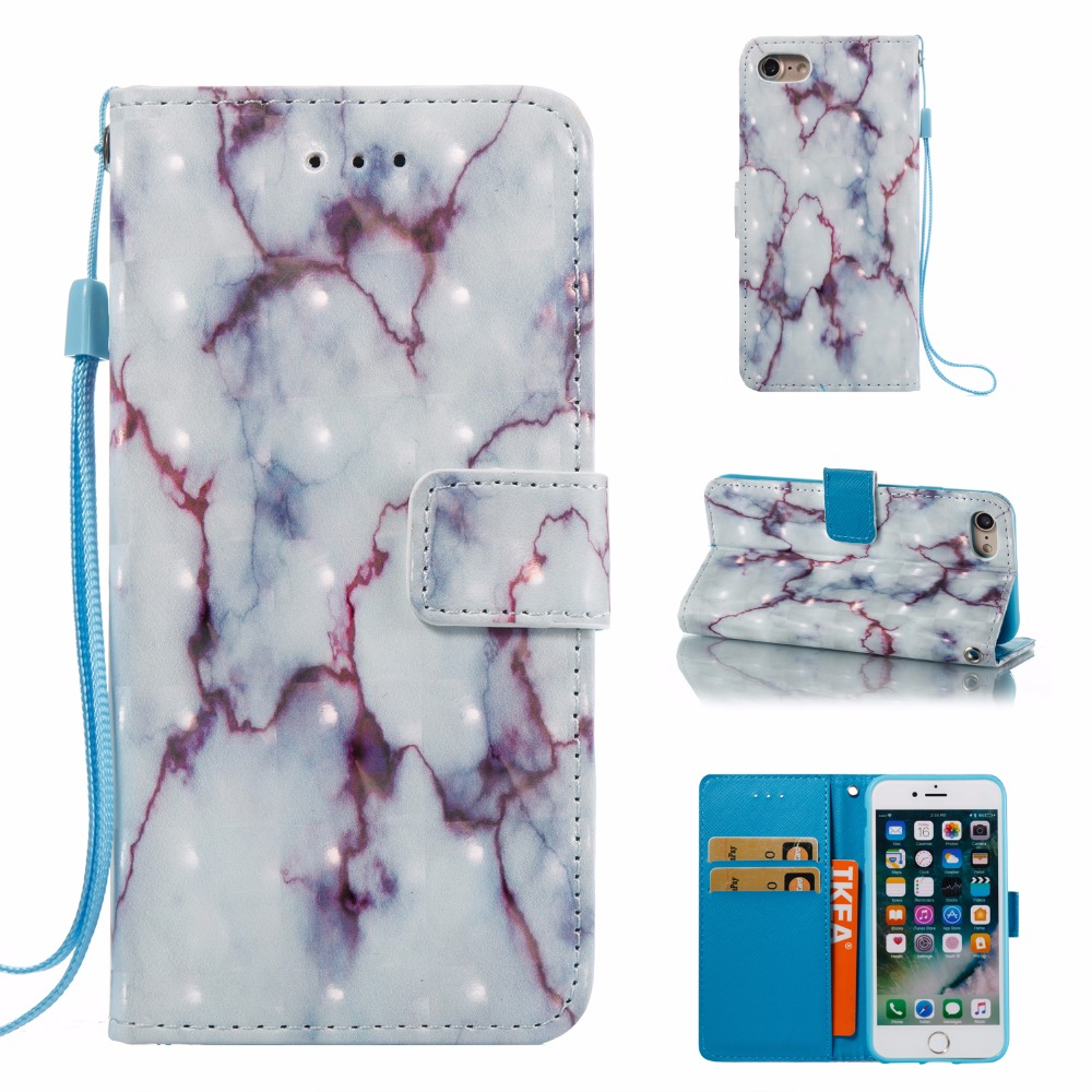 3D Marble Outline PU Leather Cover Flip Wallet Stand Phone Case Shell for iPhone 7 with Hard PC Back and Strap for iPhone7