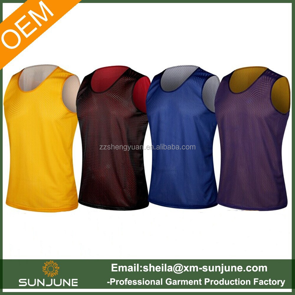 Custom OEM men mesh reversible plain basketball jerseys