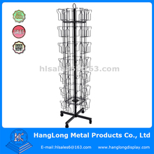 Metal wire grid rotating book shelf display rack stand