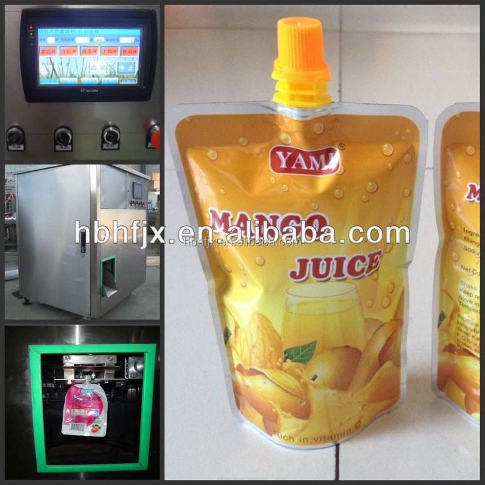 Full automatic coconut drink /apple juice in spout pouch packing machine